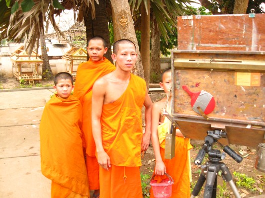 Monks watching me paint. Luang Prabang, Laos