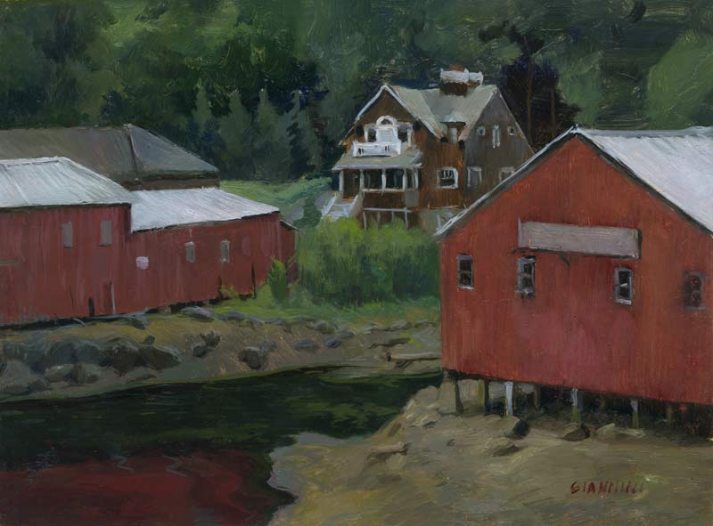 Camden Harbor, July, 9 x 12 inches, oil on linen on board