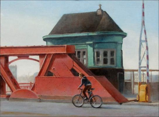 Chicago Ave. Bicyclist, 12 x 16. in., oil on linen mounted on board