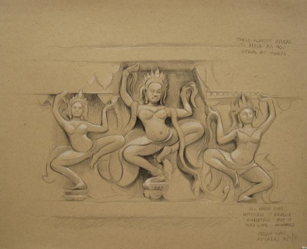 Carved Reliefs of Dancing Apsaras,Preah Khan, Angkor, Cambodia