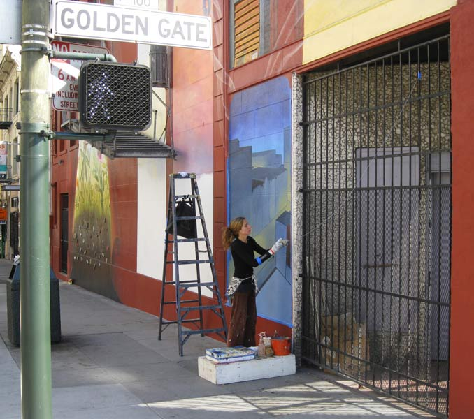 Mona Caron Working on her Tenderloin Mural
