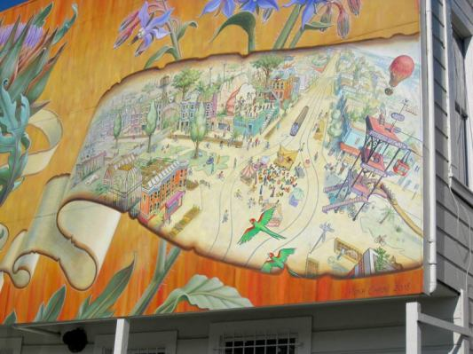 Ribbons used to contain narrative, Noe Valley Mural