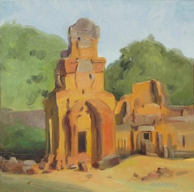 Storehouses of Angkor, Cambodia, oil on matboard, 7x7 in.