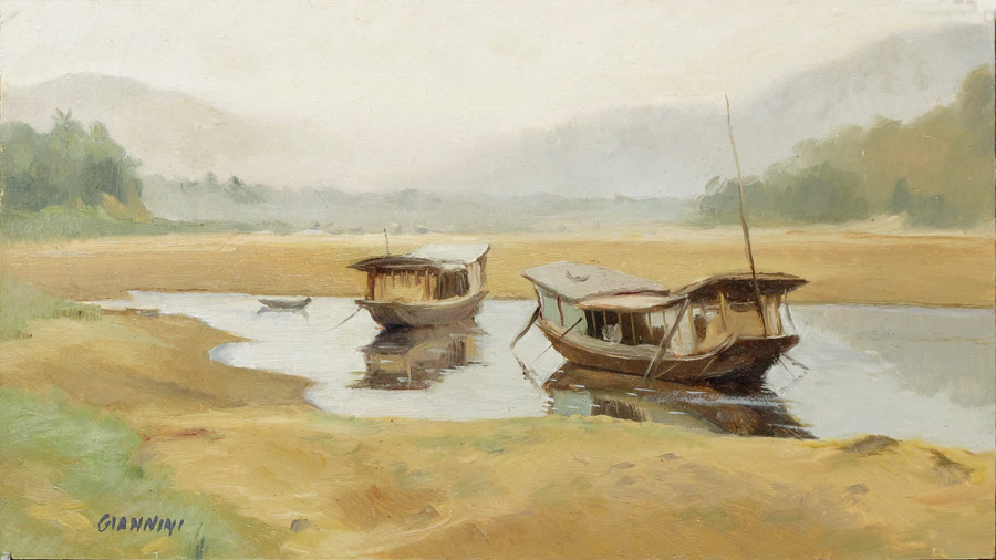 Morning on the Mekong River, Luang Prabang, Laos, 5 by 9 in. Oil on Board