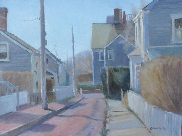 St. Martin's Lane, Nantucket,Oil on Museum Board, 9 x 12 in.