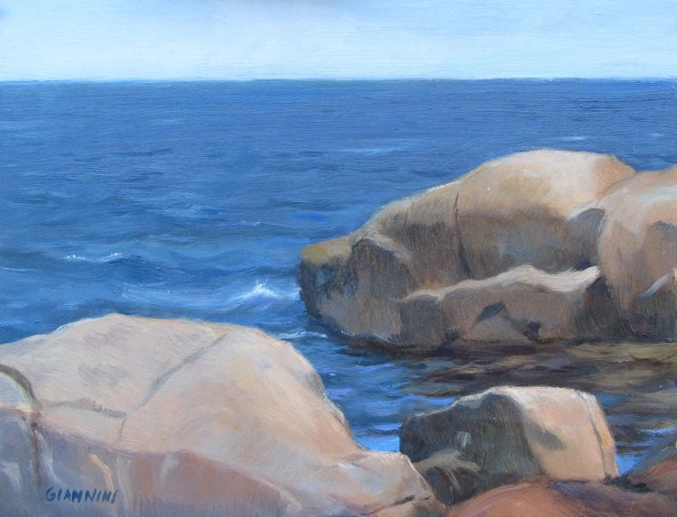 On The Maine Coast,  7 x10 in., Oil on Museum Board