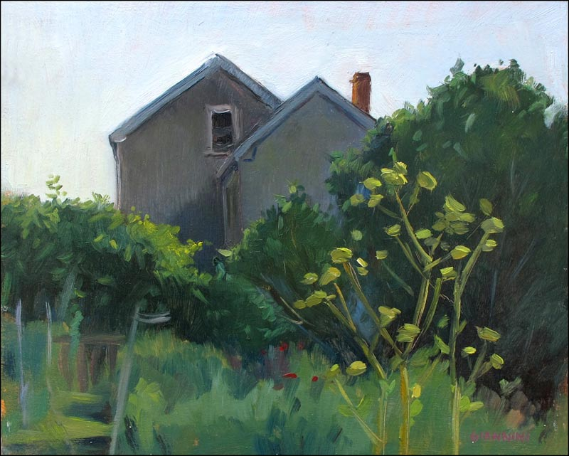 Bayside Garden, Portland, 8 x 10 in. Oil on Board