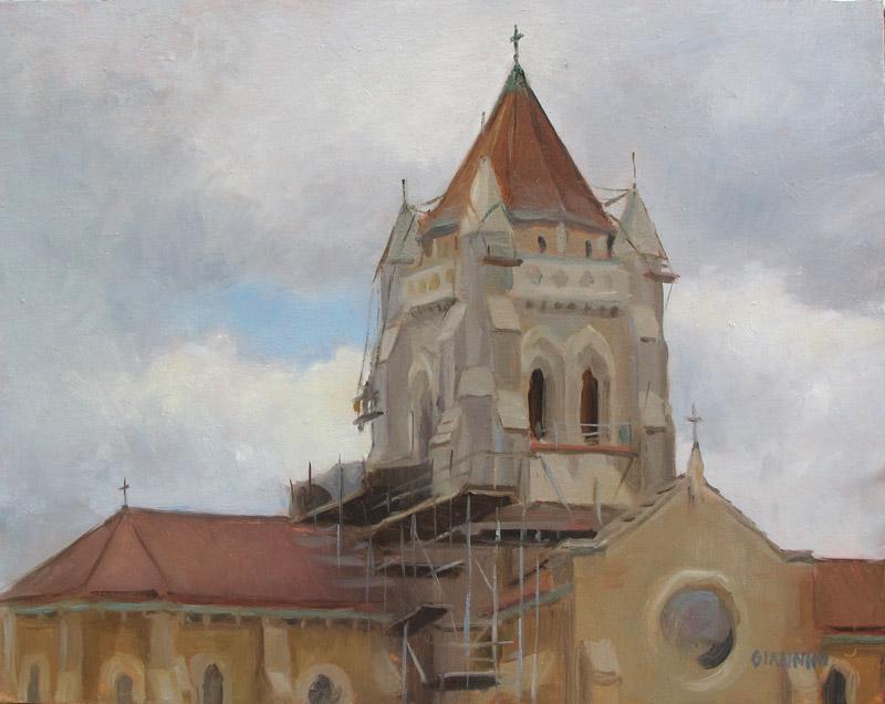 Church Restoration (St. Bernards), 11 x 14 in., Oil on Linen