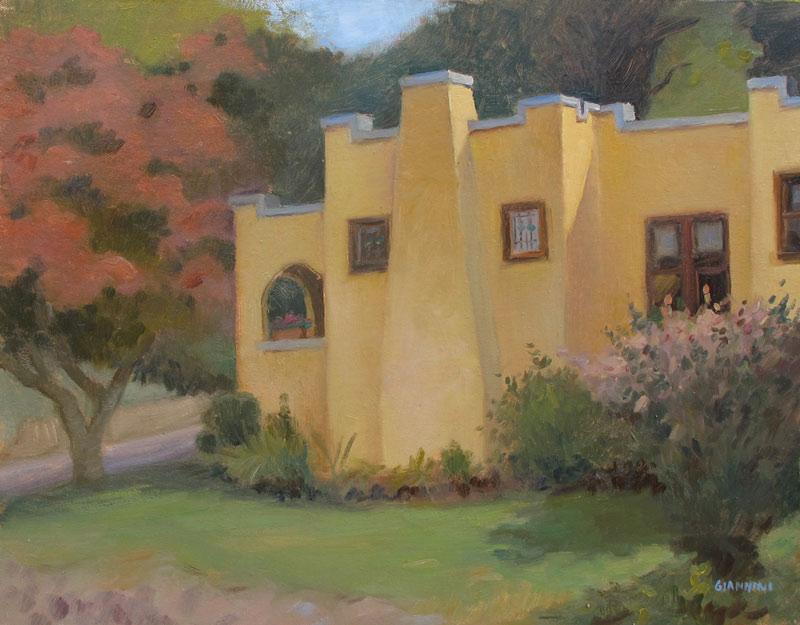 Broadmoor and Parkside; Autumn Sun,  Mt. Lebanon, Pa., 11 x 14 in., Oil on Linen