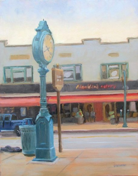 Trolley Clock, Mt. Lebanon, PA., 11 x 14 in. Oil on Linen