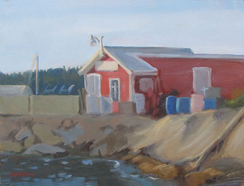Harpswell Lobster Shack, 9x12 in. , Oil on Board