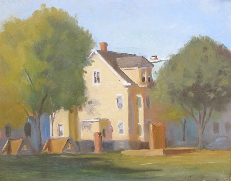 School Playground, 8 x 10 in. Oil on Board