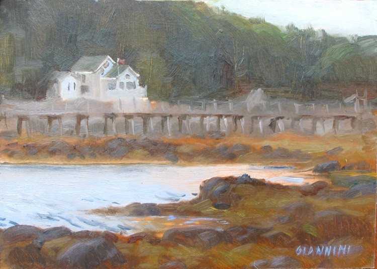 Near Boothbay Harbor, 5x7in., Oil on Museum Board
