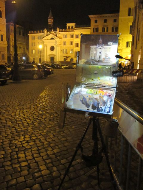 Night Painting, Piazza Farnese, Rome. Here I am using my new double LED clip on lights . One light for the painting and one for the palette. What would be better would be one more light to clip on the other side as the intensity of Illumination falls off a bit.