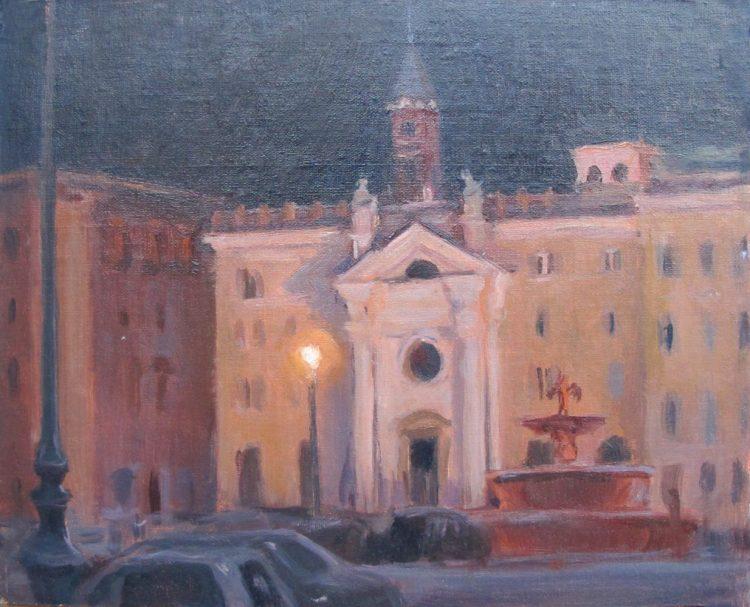 Chiesa di Santa Brigida, Roma (St. Bridget's Church), 8 x 10 in. oil on linen,