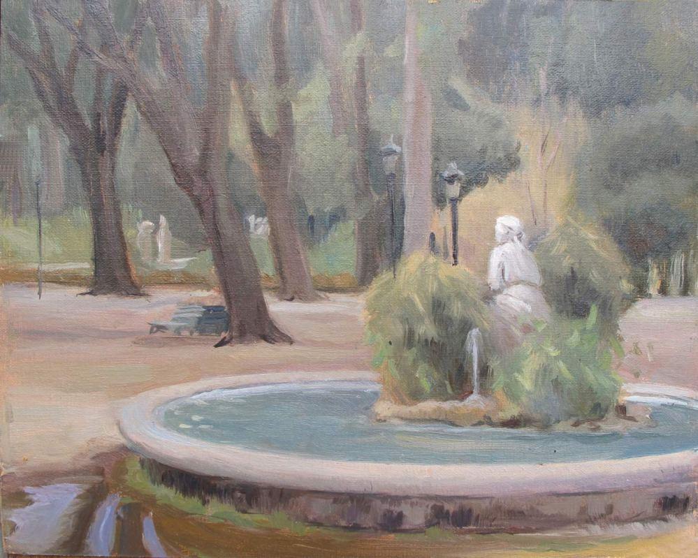 Una Fontana di Villa Borghese, Roma 8 x 10 in., oil on linen