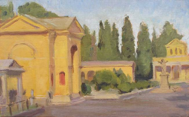 Virano Cimiterio, Rom,Italy, 5 x 8 in., oil on linen