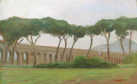 Acquedotti di Roma, 5 x 8 in. Oil