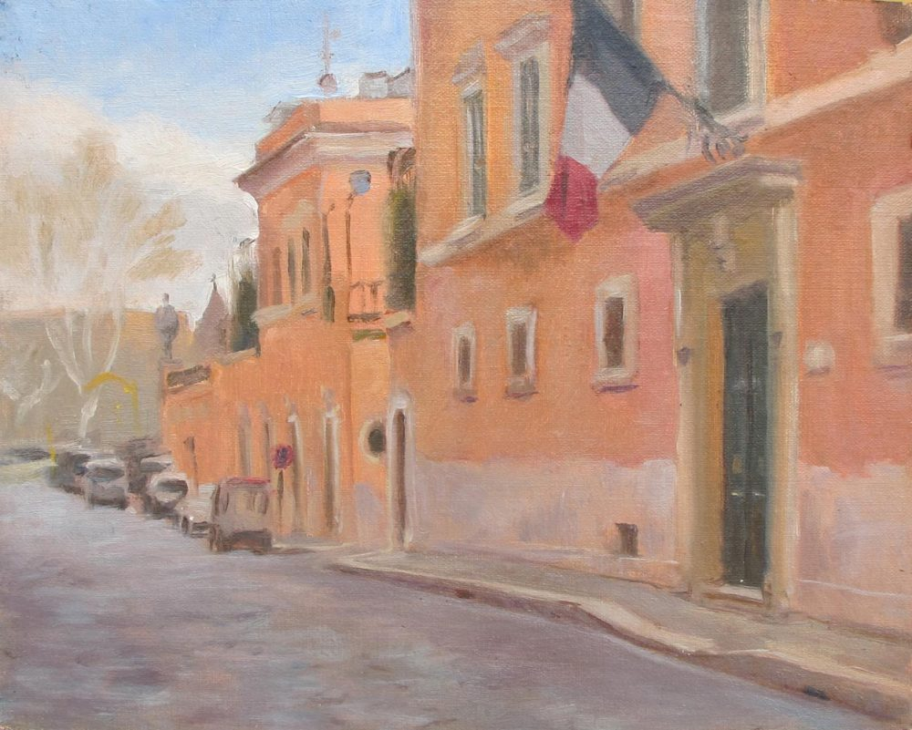 French Consulate, Rome, 8 x 10 in., Oil