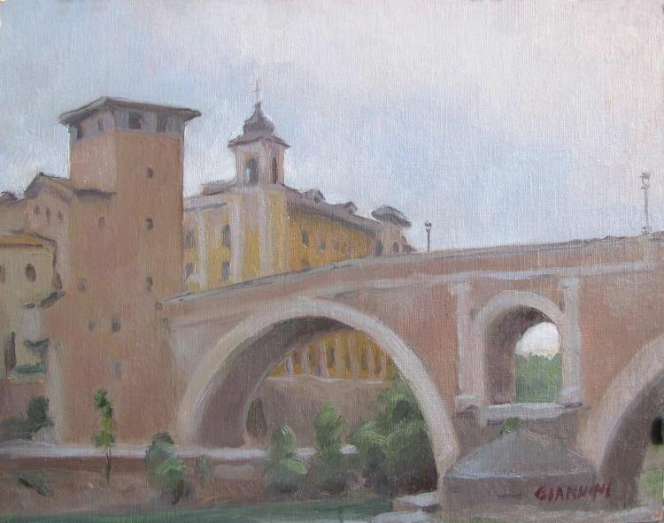 Fabricus Bridge, Roma (Isola Tiburina),8 x 10, oil