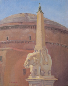 Pulcino della Minerva (Berninis Elephant), Roma, 10 x 8 in., Oil