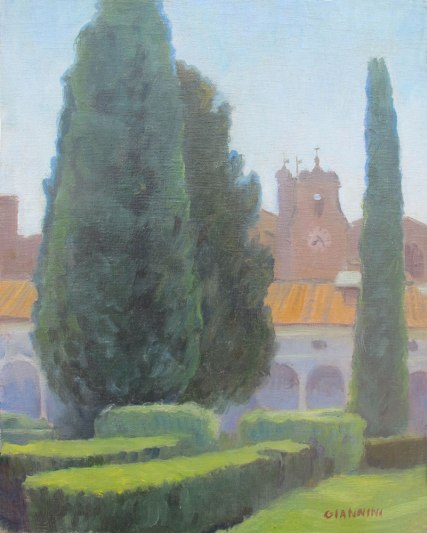 Michaelangelos Cloister, Terme di Diocleziane (The Baths of Diocletian),Roma, 10 x 8 in, Oil