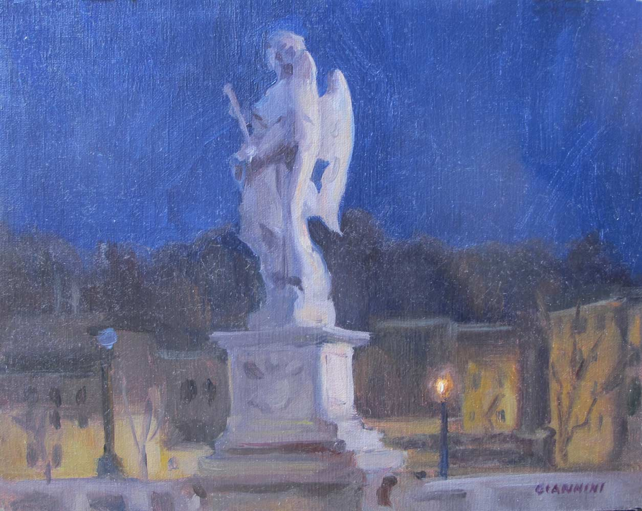 Notte, Roma ( Sant' Angelo Bridge by Night), 8 x 10 in. Oil
