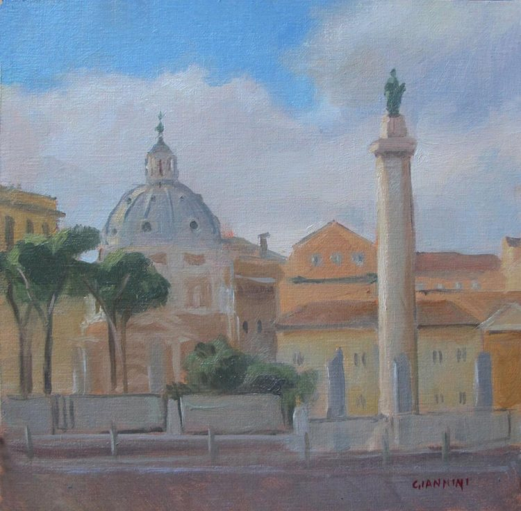 Trajans Column, Rome 8 x8 in., Oil