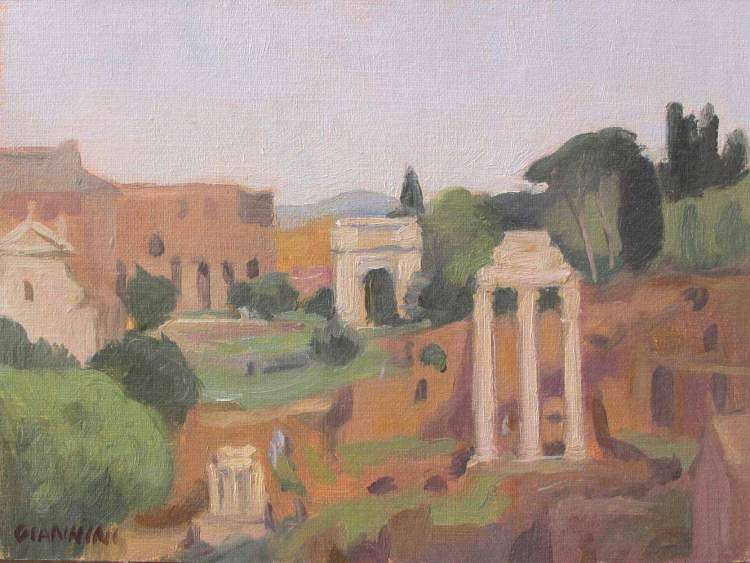 Veduta del Foro Romano (View of the Roman Forum) 5 x 7 in., Oil