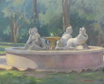 Villa-Sciarra,Roma, 8 x 10 in. Oil