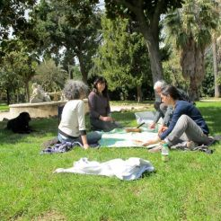 A painters picnic during a day of painting in Rome.