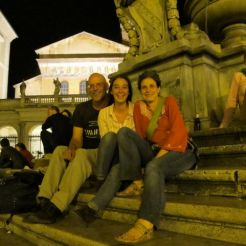 Meeting friends after a day of painting at Piazza S. Maria di Trasavere in Rome.