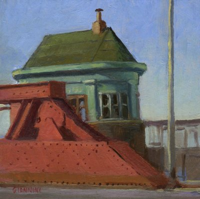 Chicago Ave Bridge, 6 x 6 in., oil on linen