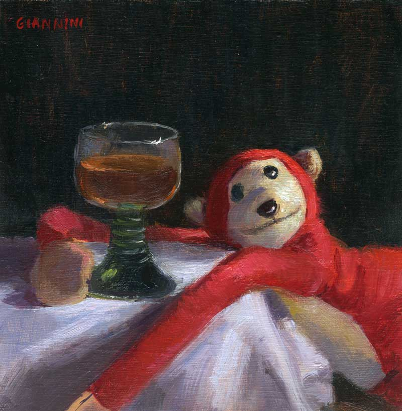 Drunk Monkey, 6 x 6 in. oil on linen
