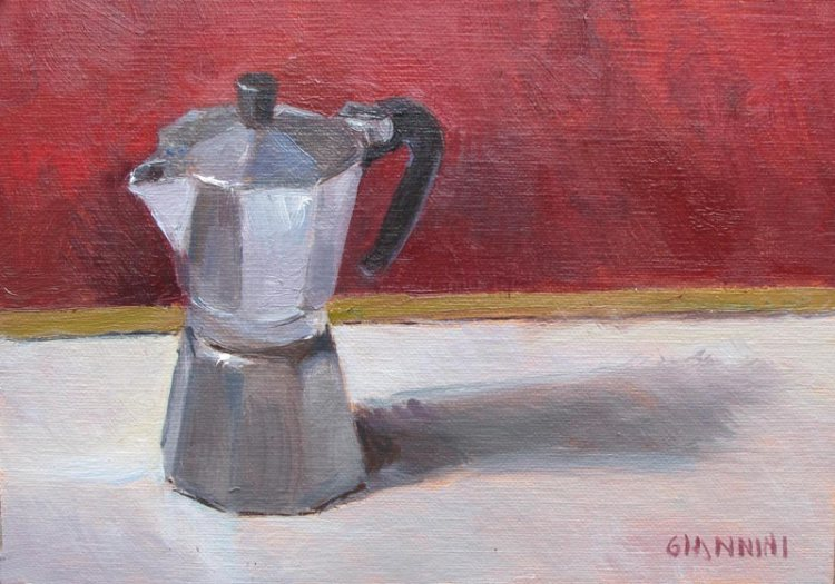 Espresso Pot, 5 x 7  in., Oil on Linen