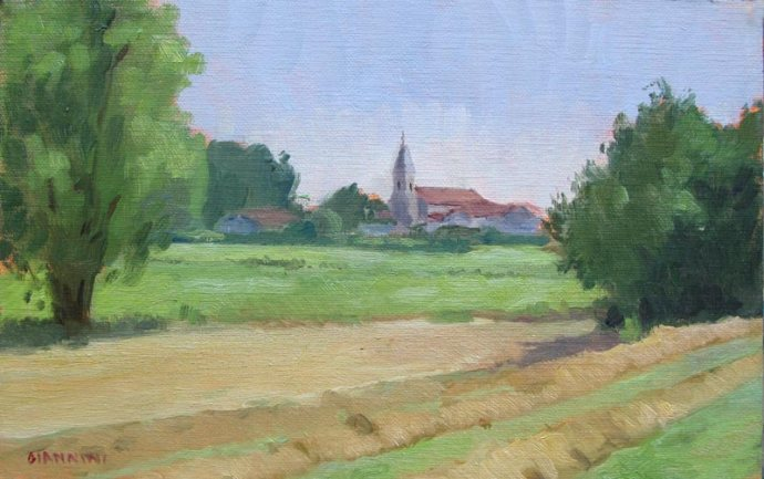 View of Saubrigues, Aquitaine, France, 5 x 8 in., oil on linen