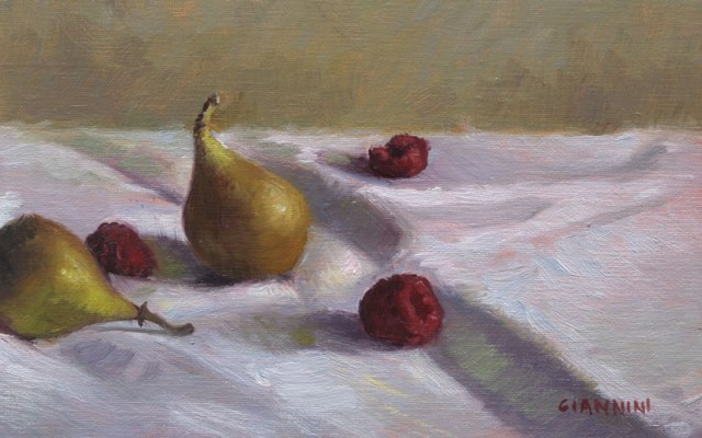 """Local Gatherings"""" , 5 x 8 in., oil on linen"""