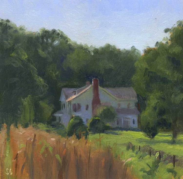 """Late Afternoon in Mill Spring, NC , 6 x 6 in., oil on linen"