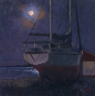 Moonrise, Rockland Harbor, Maine,6 x 6 in., oil on linen on board