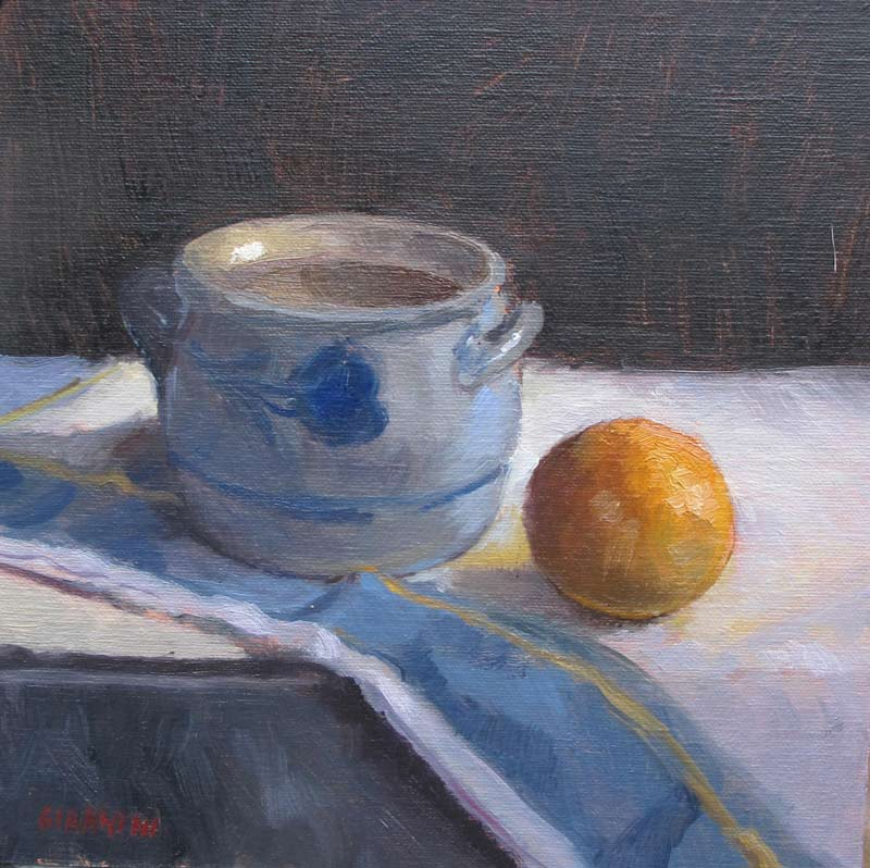 Pot and Orange, 7 x 7 in., Oil on Linen