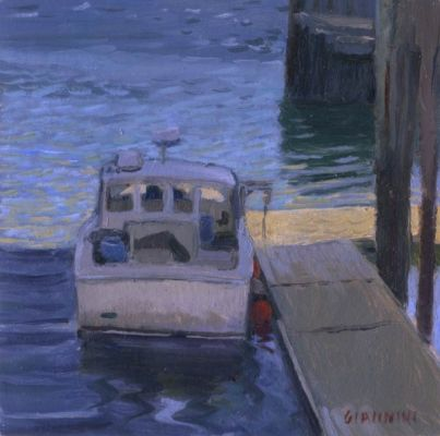 A Day Off, Rockland Maine, 6 x 6 in. oil
