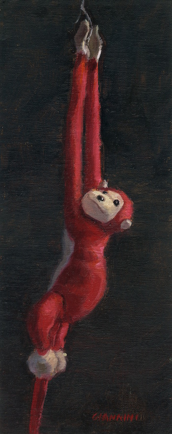 The Swinger, 4 x 10 in., oil