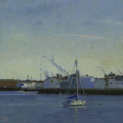 Rockland Harbor, November, 6 x 6 in.oil on linen
