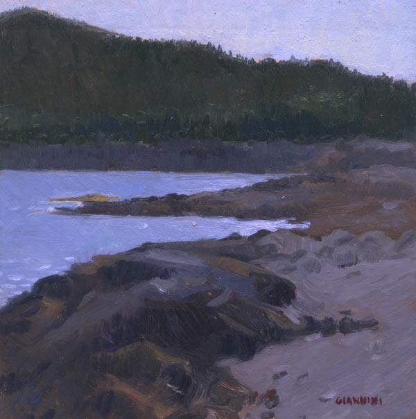 Near Acadia, Schoodic Point, Maine, 6 x 6 in., oil on linen on board