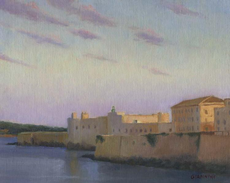 Ortygia Sunset, Syracusa, Sicily, 8 x 10 in., oil on linen