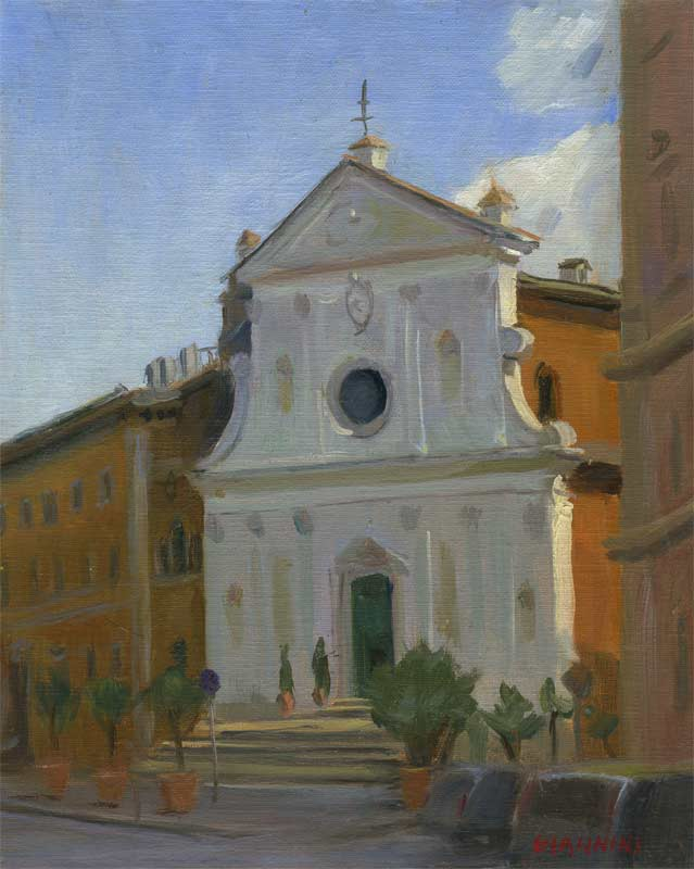 Santo Spirito, Rome, 10 x 8 in., oil on linen