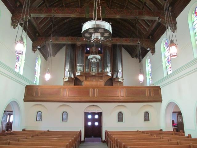 The choir and organ at the rear of the church