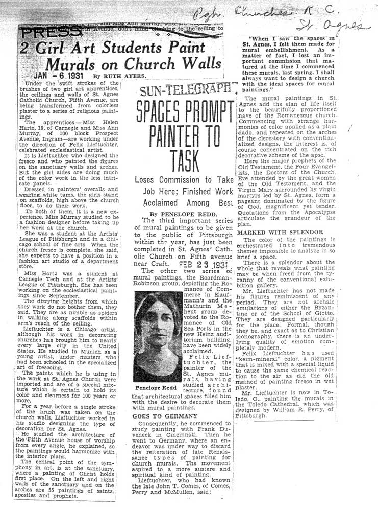 Lieftuchter Press Clippings: The Pittsburgh Press,January 6, 1931, and from The Pittsburgh