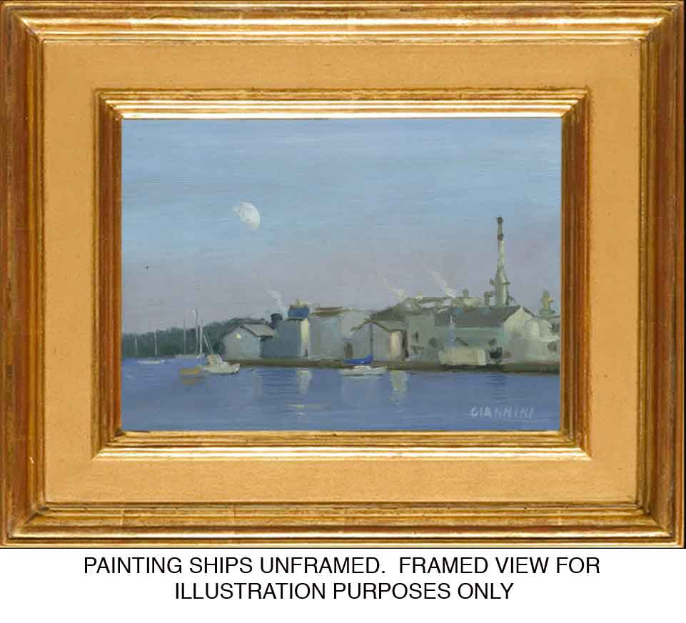 Moonrise over Maine, oil, 5 x 7 in., Oil on board,( framed view)