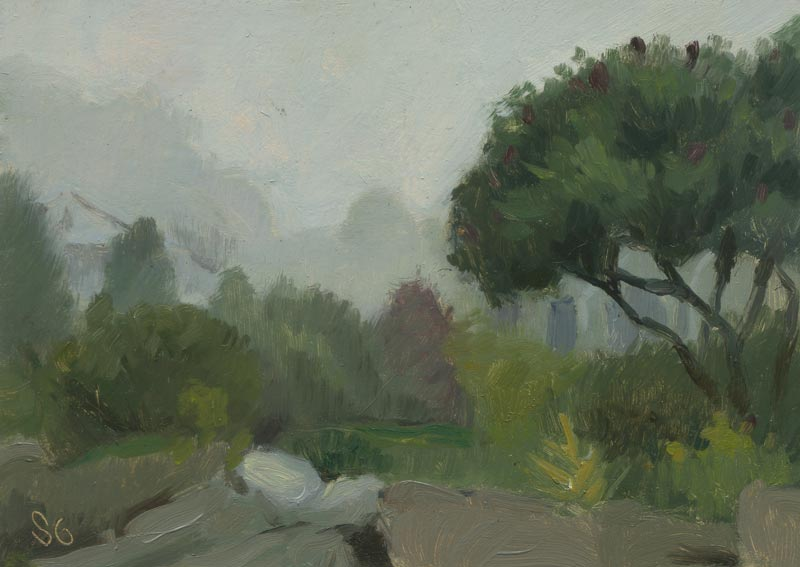 Fog in East Boothbay, Maine. 5 x 7 in. oil on board